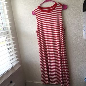Time and Tru Red & White Striped Sleeveless Dress